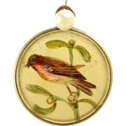 Victorian Hand Painted ROBIN On MISTLETOE Charm FOB Pendant - Red Tag Sale Item