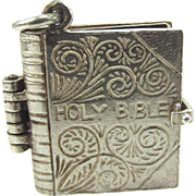 Huge Vintage Silver BIBLE Charm Opens Loose Leaf PAGES 1964