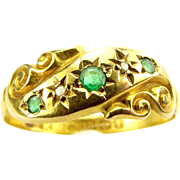 Antique EDWARDIAN 18ct Gold, Emerald & Diamond RING 1905
