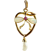 Victorian 9ct Gold HEART Pendant Lavaliere Opal & Ruby BOW Detail