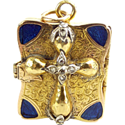 Victorian 17ct/18ct Gold Enamelled Book Locket 15ct Gold Diamond Cross