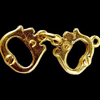 Vintage 9ct Gold Charm HAND CUFFS 1970's