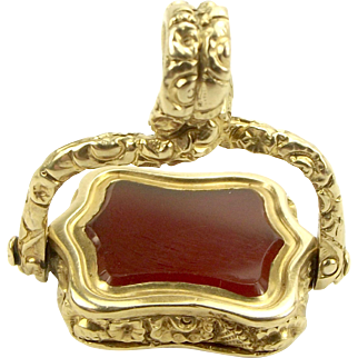 Victorian 14ct/15ct Gold & CARNELIAN Spinning Charm FOB Pendant