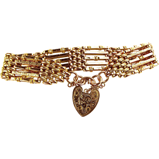 Edwardian 9ct Gold GATE Bracelet Ornate PADLOCK Fastener