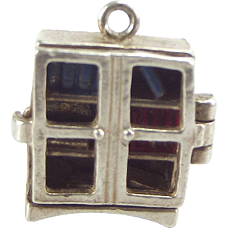 RARE Vintage Silver & Enamel BOOKCASE Charm NUVO