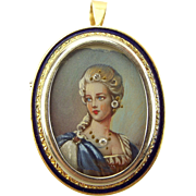 Vintage 18ct Gold & Enamel Pendant HAND PAINTED Lady With Real DIAMONDS Italian