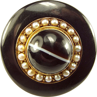 Victorian 9ct Gold, Onyx, Agate & Seed Pearl LOCKET Mourning Brooch