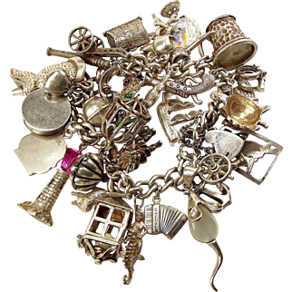 Vintage Sterling Silver PIRATE Themed 32 Charm Bracelet 1979