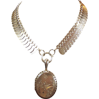 Victorian Sterling Silver COLLAR & Bird & Butterfly LOCKET Opens