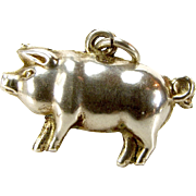 Antique EDWARDIAN Sterling Silver Puffy PIG Charm Hallmark 1908