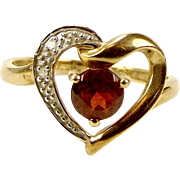 Vintage 9ct Gold, Garnet & Diamond HEART Shaped RING