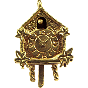 Vintage 9ct Gold Moving CUCKOO CLOCK Hands Turn 1977