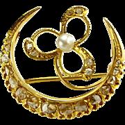 Stunning 18ct Gold, Diamond, Pearl CRESCENT MOON & SHAMROCK Brooch Victorian