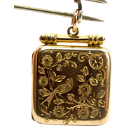 Victorian 9ct Gold Square LOCKET Hand Engraved Flowers & BIRD Original Glass Inserts