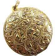 Vintage Ornate 9ct Gold Round LOCKET By Manfred Müller