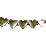 Vintage STERLING Silver Bracelet 14 HEART Shaped Sections