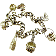Vintage SWISS Silver Bracelet & 7 CHARMS Brushed Satin Finish.