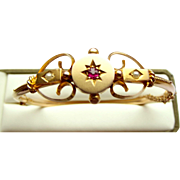 Victorian 9ct Gold, Ruby & Seed Pearl Bracelet BANGLE