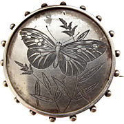 Victorian Silver Hand Etched BUTTERFLY Brooch LOCKET Back Perfect for Conversion.