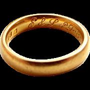 Victorian 22ct Gold WEDDING BAND Ring Hmk 1851 Inscription Inside