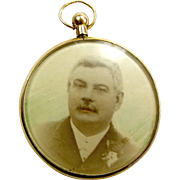 Edwardian 9ct Gold Double Sided Glazed LOCKET Pendant Or Fob 1906