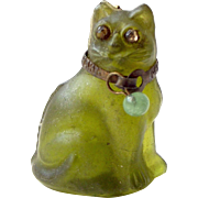 Edwardian Czechoslovakian Glass GREEN CAT Charm Paste EYES Brass COLLAR
