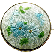 Edwardian Silver & Guilloché Enamel Forget-Me-Not FLOWER Brooch Pendant?