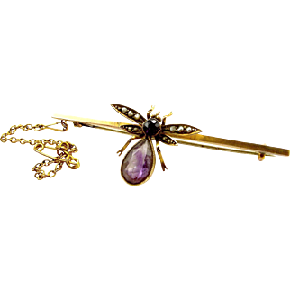Victorian 9ct gold AMETHYST Seed Pearl Moving FLY BUG Brooch