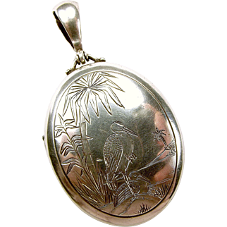 Victorian Silver Hand Etched HERONS On LOCKET Opens