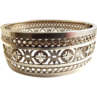 Beautiful EDWARDIAN Silver Pierced CUFF Bracelet