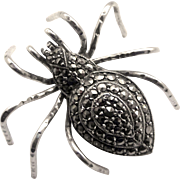 Vintage Silver & Marcasite SPIDER Brooch
