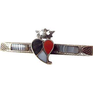 EDWARDIAN Silver & Scottish Agate BROOCH Witch's Heart 1908