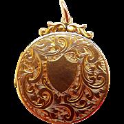 Victorian 9ct Gold B&F Round LOCKET With Ornate Surmount