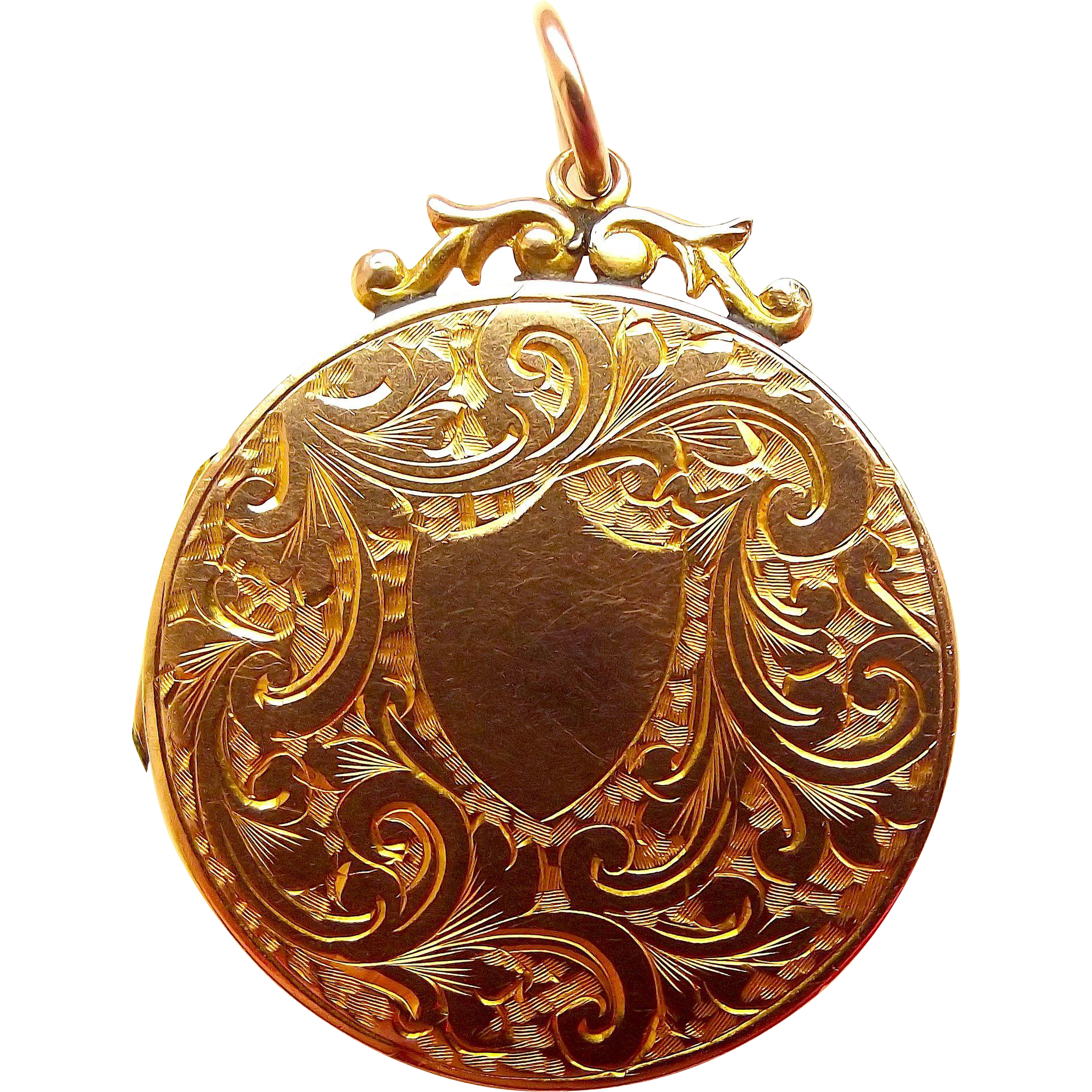 Victorian 9ct Gold B&F Round LOCKET With Ornate Surmount