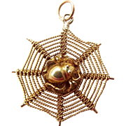 Vintage 9ct Gold SPIDER On WEB Charm