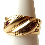 Vintage 9ct Gold Dbl Headed SNAKE Ring With 2 RUBIES 1963