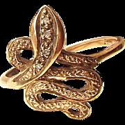 Art Deco 9ct Rose Gold SNAKE Ring Diamond Set Head