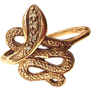 Art Deco 9ct Rose Gold SNAKE Ring Diamond Set Head