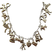 Vintage Art Deco German 800 Silver Charm Bracelet & 18 CHARMS