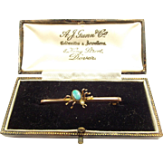 Victorian 9ct Gold OPAL Seed Pearl SPIDER Bar Brooch Pin BOXED