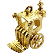 Vintage 9ct Gold Charm HANSOM CAB Articulated 1984