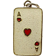 Vintage Silver Charm ACE Of HEARTS Card Enamel Charm
