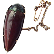 Victorian 9ct GOLD Mounted Iridescent BEETLE Brooch