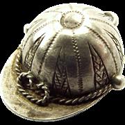 Antique Edwardian Silver JOCKEY CAP Charm FOB Pendant Inset COMPASS