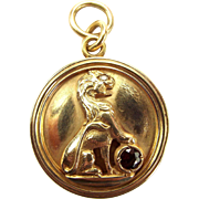 Vintage 14ct Gold LOCKET Raised LION Diamond EYE Whopping 15.5g