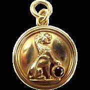 Vintage 14ct Gold LOCKET Raised LION Diamond EYE Whopping 15.5g