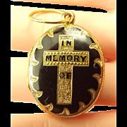 Victorian 18ct Gold & Black Enamel MOURNING LOCKET Opens Hair