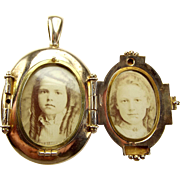 RARE Victorian Gold P Four Picture LOCKET 1871