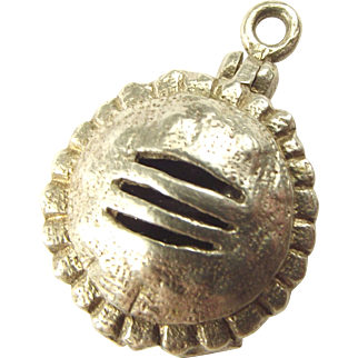 Vintage Silver Meat PIE Charm Opens To BONE