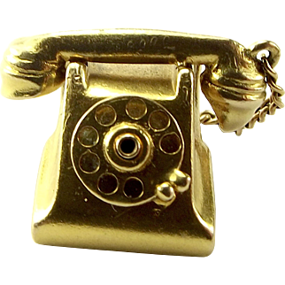 Vintage 9ct Gold TELEPHONE Charm Separate HANDSET